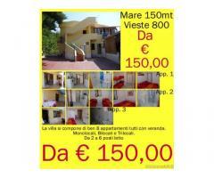 Vieste Villetta trilocale con veranda a 150mt dal mare