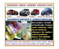 Acquistiamo auto usate,veicoli usati in genere, anche se rotti contanti