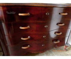 CASSETTIERA anni 40 - 50, legno ciliegio maniglie - Bergamo