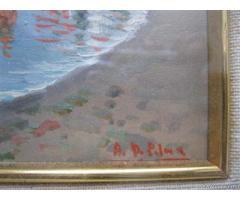 Piccolo quadro impressionista rappresentante un lido della c - Napoli