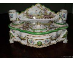 Raro calamaio '800 in ceramica dipinta a mano - Vicenza