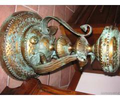 Lampada da terra ferro battuto e vetro di Murano - Brescia