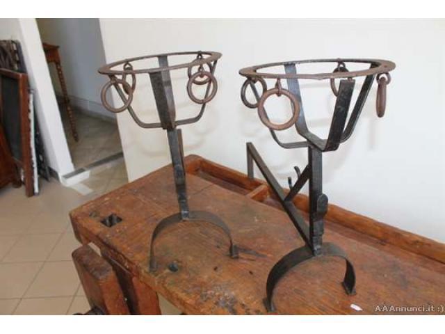 Coppia alari Toscani epoca 700 ferro battuto. Antico Antiqu - Viterbo